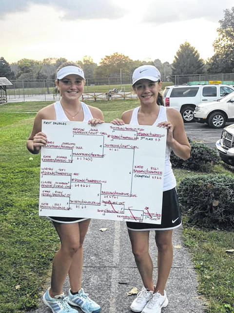 Submitted photo Elli Chandler and Katie Baughn pose with the first doubles bracket following their MOAC championship on Saturday. Chandler and Baughn also won the second doubles title a season ago for the Galion Lady Tigers tennis squad.