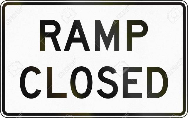 Road sign used in the US state of Virginia - Ramp closed.