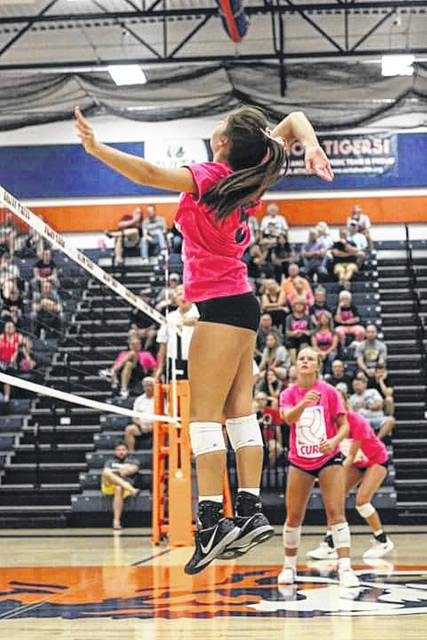 Photo courtesy of Erin Miller Gillian Miller goes in for a kill attempt during Monday evening's Volley For The Cure contest against the visiting Northmor Lady Golden Knights. The Galion Lady Tigers had no issues with their guests, sweeping the match in three sets to improve to 17-1 overall.