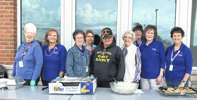 """Courtesy photo  For our """"DAR Day of Service"""", The Jared Mansfield Chapter of the DAR spend their annual Day of Service serving a BBQ cookout lunch at the Veterans Affairs Community Based Mansfield Outpatient Clinic. Members Pat James-Hasser, Joyce Vanatter, Betty Korol, Joan Wyatt, Gail Adams, Teresa Boice, Pat Jennings and AMVETS Post 26 members Greg Carr and Janice Buzzard took part in the project."""