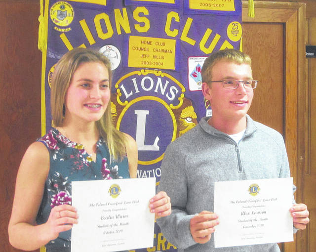Courtesy photo Cecilia Wurm and Alex Lawson are the two latest students of the month at Colonel Crawford