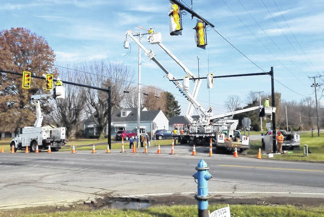 "Photo courtesy City of Galion The new traffic lights at the Ohio 598/Brandt Road intersection have been installed and were inspected this week. They will be set to ""flashing"" next week, for about a week, so drivers can get used to the lights being in place. After about a week, the lights will be activated for normal operation."