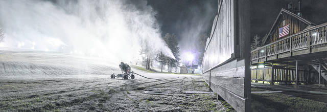 Courtesy photo Snow-making started last week at Snow Trails in Mansfield. It was six six days earlier than the previous earliest start. Cold weather this week means more snow will be stockpiled, making it easier for a successful season. This will be Snow Trails 59th season of operation.