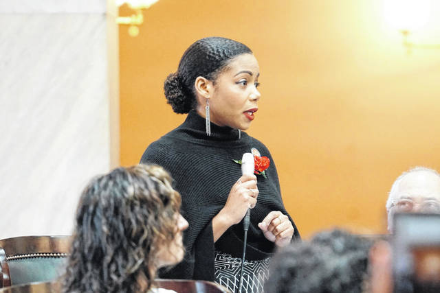Photo courtesy of the Ohio House of Representatives  Ohio state Rep. Erica Crawley speaks March 27, 2019, on the floor of the Ohio House of Representatives about her legislation to provide tax breaks to disabled veterans.