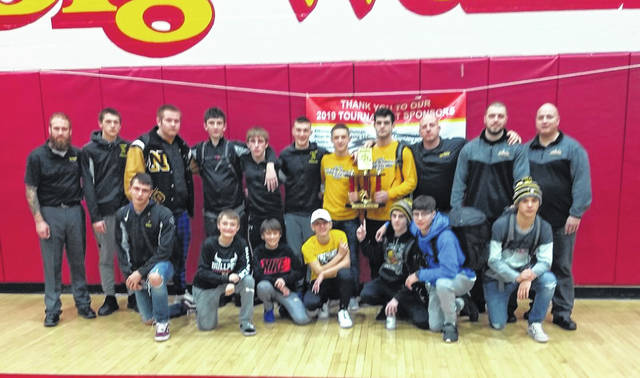 Submitted photo   The Northmor Golden Knights won the annual Big Walnut Classic wrestling tournament, holding off the runner-ups from Dublin Jerome; 235-217.5. Galion placed fifth overall in the field of 13 teams, tallying 178.5 points.