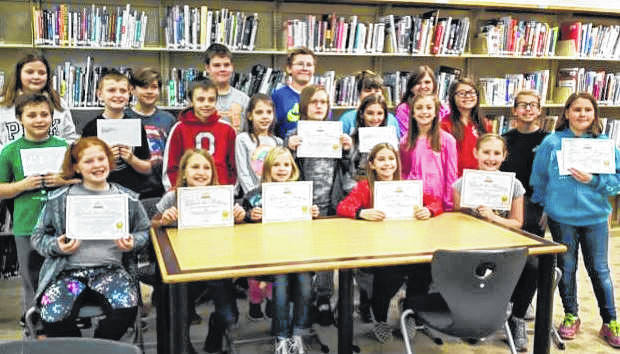 "Courtesy photo Fifth-grade language arts students in the classes of Ms. Routzahn and Ms. Beck recently participated in a Young Writers Club contest, entitled ""Spooky Sagas."" Some of the essays may be published in a book."