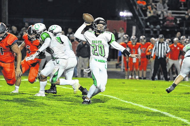 Photo by Jeff Hoffer Clear Fork quarterback Brennan South tosses a pass in the Colts' win over Galion this year. South has been named to the Division IV, first-team All-Ohio football team. The senior signal-caller helped lead the Colts to a 6-4 record this year and playoff appearances during his sophomore and junior seasons. During the regular season, he threw 27 touchdown passes, with just five interceptions. He also completed 63 percent of his passes for 2,335 yards.