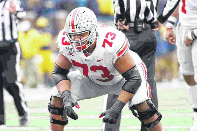 Ohio State offensive lineman Jonah Jackson (73), a graduate transfer from Rutgers, was first-team All-Big Ten in his first season for the Buckeyes.
