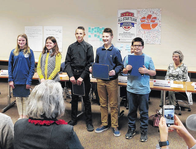 Courtesy photo Six Galion Middle School students were recognized for their success and achievement at Tuesday;s school board meeting. Sixth-graders Elliott Freyman and Collin Peden; seventh-graders Nathan Mendiola, Cameron Eckert; and eighth-graders Steven Glew and Cooper Kent were honored.