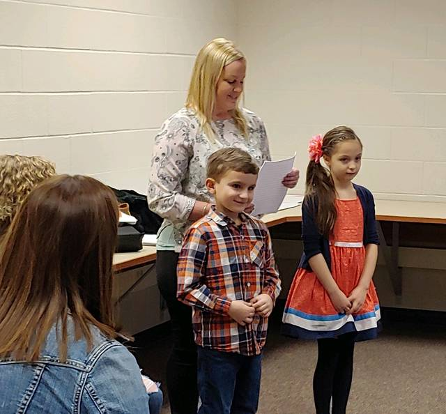 Courtesy photo Galion Primary School students Jaxin Wolfe and Lillyauna Huddlestun were honored by Galion School Board members for their achievements, positive attitudes and classroom behavior at this week's meeting.