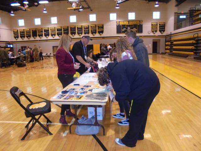 Courtesy photos Northmor JOG juniors and seniors set up a Career Day on Feb. 25 for all Northmor High School students. They picked out businesses from around the area, as well as branches of the military and invited them to participate.