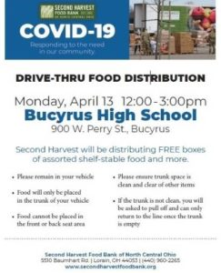 Second Harvest Food Bank will be in Bucyrus with about 500 boxes of food Monday