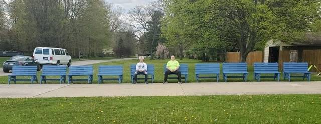 Courtesy photo Jack Wright built 10 benches for football teams to sit on during games at Heise Park Stadium this fall. The GHS student was able to get the items donated to him as part of an Eagle Scout project.