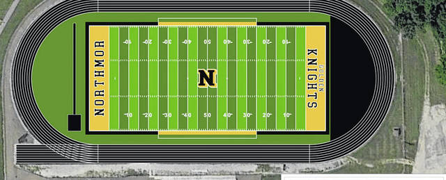 Above is a shop drawing of the proposed renovations to Northmor's football field and track — a project that will be worked on throughout the summer.