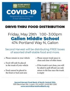 Second Harvest Food Pantry coming to Galion next Friday, May 29