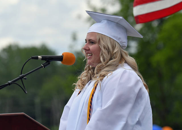 """Photo by Don Tudor Madelyn Thomas, president of the Galion High School Class of 2020, told classmates: """"I have no doubt that each and every one of us is capable of making a difference in this society and will pave a path for others to follow in our footsteps."""""""