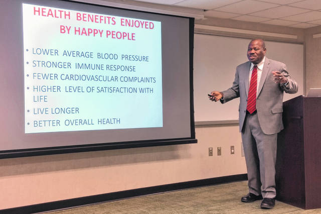Dr. Alphonsus Obayuwana, founder and CEO of Triple-H Project LLC speaks at Way Public Library in Perrysburg.