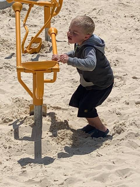 Jodi Myers | Galion Inquirer JJ Ross had a great time playing in the sand Tuesday at Galion's newest playgrhound area in Heise Park.