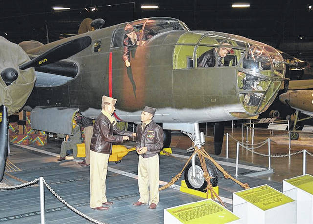 U.S. Air Force Photo  North American B-25B Mitchell and Doolittle Raiders diorama in the World War II Gallery at the National Museum of the United States Air Force in Dayton, Ohio.