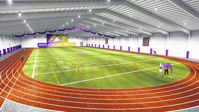 Courtesy photo Thanks to the generous gifts of three lead donors, Ashland University stands ready to break ground on a first-class, 125,000-square-foot indoor athletic and activity center adjacent to the Dwight Schar Athletic Complex. The concept for the Niss Athletic Center was driven by AU parents Dan and Brenda Niss, as well as alumni Jack and Deb Miller and Jerry Ruyan. Completion of the center is anticipated in late spring of 2021.