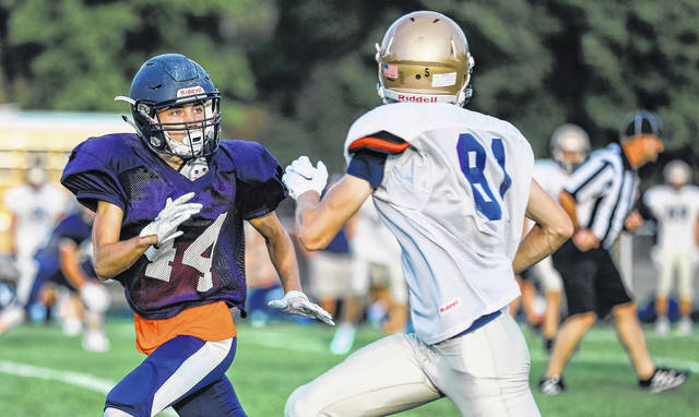 Photo by Lynne Foust Speed in the defensive backfield will be a strength for the Galion Tigers this year. That speed was evident in the Tigers' scrimmage last week vs. Tiffin Columbian.