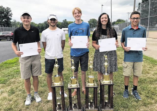 Pictured are some of the Heart of Ohio Junior Golf Association scholarship winners for this year. From left to right are Alexander Crowe of Fairbanks, Spencer Keller of Galion, Isaac Dillon of Elgin, Mallory Graham of Mount Gilead and Max Longwell of Galion. Not pictured are Alex Pratt of Pleasant, Mason Rinehart of Pleasant, Nathan Stewart of Delaware Christian.
