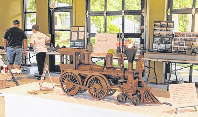 "Photo by Jodi Myers This wooden train, named ""The General"" was crafted by Walter Seckel of Galion. It was on display at the Big Four Depot on Saturday."