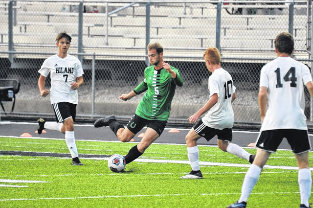 Photo by Jeff Hoffer Clear Fork's Seth Stoner plays keep-away from three Hiland players last week during independent boys high school soccer action in Bellville last week. The Colts played to a 1-1 tie vs. Hiland and as of Monday night were in first place in the Mid-Ohio Athletic Conference standings. The Colts are 2-0-1 in league play and undefeated in 10 overall matchups, with seven wins and three ties. The Colts hosted Pleasant on Monday in an MOAC match and are at Huron on Saturday in non-league play.