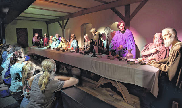Courtesy photo  A woodcarving exhibit by artist Joseph Barta is coming to BibleWalk in Mansfield. It includes this life-size depiction of The Last Supper, which took more than four years to complete.