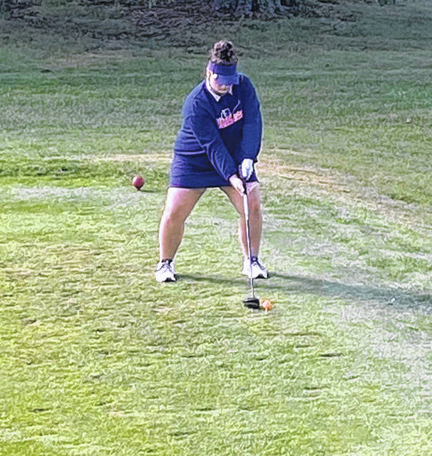 Courtesy photo  Galion sophomore Ava Niedermier tees off on No. 10 Tuesday at Valley View during the Division II girls golf sectional tournament. The Tigers finished the season at 5-6 in dual competition, after only winning one match the previous year. The entire team returns next season for coach Alan Conner.