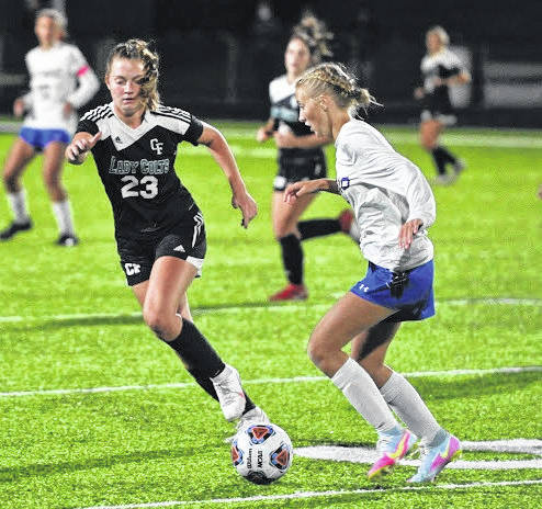 Photo by Jeff Hoffer Clear Fork received a No. 3 seed in their Northwest 2 regional/district girls soccer tournament. The Lady Colts will play host to No. 4 seed Lexington at 3 p.m. on Oct. 21 for a sectional title. This photos is for a non-league game vs. Highland last month in Bellville.