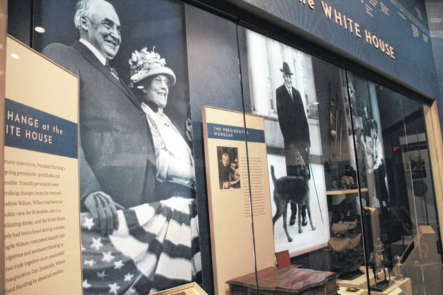 This display at the Warren G. Harding Presidential Center in Marion shows highlights of Harding's term as president of the United States. The opening of the center has been delayed indefinitely due to the coronavirus pandemic. Officials from the Ohio History Connection said work continues on exhibits at the presidential center and the adjacent Harding Home.