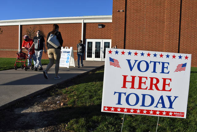 Voters go to the polls at Galion High School on Tuesday.