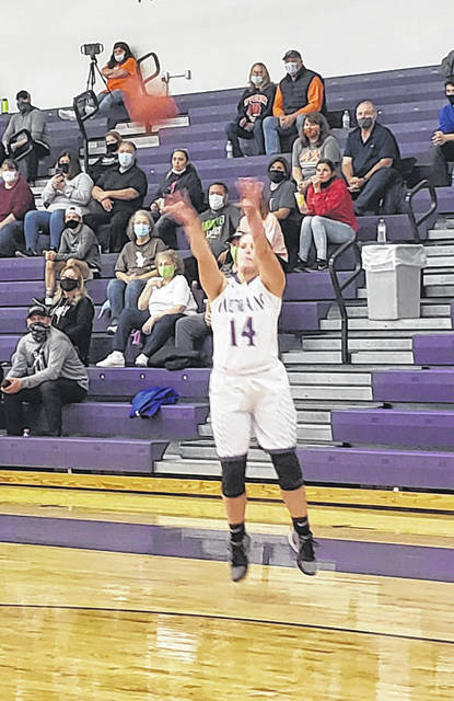 Mount Gilead's Kaitlyn Pfiefer hit a pair of three-pointers to help her Indians defeat Galion 49-30 in the season-opener for both teams.