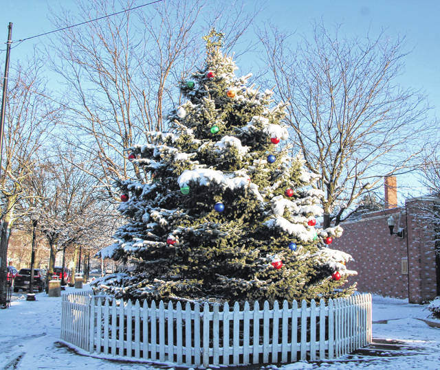 The Galion community Christmas tree stands waiting on the Square to be lighted for the holiday season. The annual tree-lighting ceremony is scheduled to begin at 5:30 p.m. on Saturday, Dec. 5, 2020. The Galion Area Ministerial Association is conducting the ceremony, which will be livestreamed on the association's Facebook page. Residents are asked to watch the event online instead of gathering in the Square.
