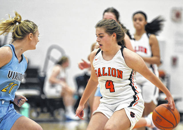 Galion point guard Lexi Rush (4) battles against River Valley's Hope Griest during the Mid Ohio Athletic Conference girls basketball game played Saturday, Dec. 5, 2020, at Galion High School.