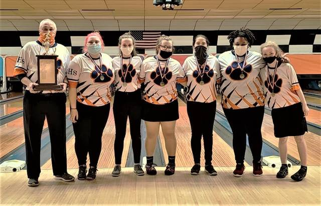 Galion High School captured the Crawford County Bowling Tournament girls championship on Saturday, Jan. 23, 2021, at Victory Lanes in Galion. The Lady Tigers defeated Crestline in the championship round to earn the title. Team members are Kadence Fairchild, Abby Crager, Zoe Frary, Maleah Stratton, Shelena Wilcox, and Missy VonHoupe. Bob Lear is the coach of the Lady Tigers.