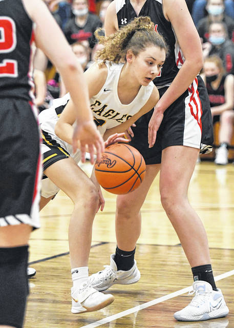 Colonel Crawford sophomore Mallory Plesac bulls her way toward the basket during the Eagles 41-22 win over Mohawk on Tuesday, Jan. 19, 2021, at Mac Morrison Gym. Plesac finished with nine points, eight of which she scored in the second half.