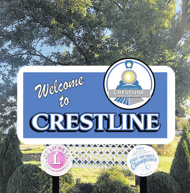 """This is a rendering of the new welcome signs that will be installed at the entrances to the Village of Crestline. The Crestline Community Development Team raised $8,960 to update all four """"Welcome to Crestline"""" signs located on County Road 330 and Ohio 61. Crestline VFW Post 2920, the Crestline Railroad Community Center, and Park National Bank donated to the project."""