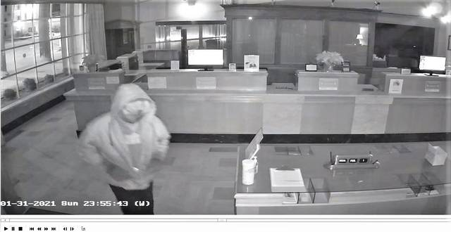 Galion Police are seeking a male suspect in connection with a break-in at the First Federal Bank of Ohio, 140 N. Columbus Street, that occurred on Sunday, Jan. 31. Anyone with information is asked to contact Det. Robert Burkey or Det. Marc Rodriguez at 419-468-9111.