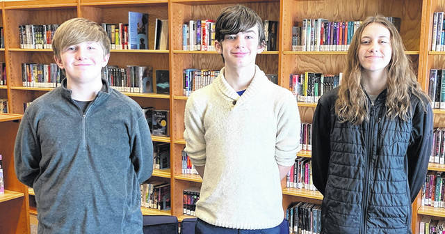 Galion Middle School eighth-grade students, from left, Craig Geiger, Cohen Pierce, and Jillian Capretta will represent Galion in the Tri-County Spelling Bee competition on Thursday, Feb. 18. Geiger and Pierce finished first and second, respectively, in the Crawford-Morrow Counties Spelling Bee held last month.