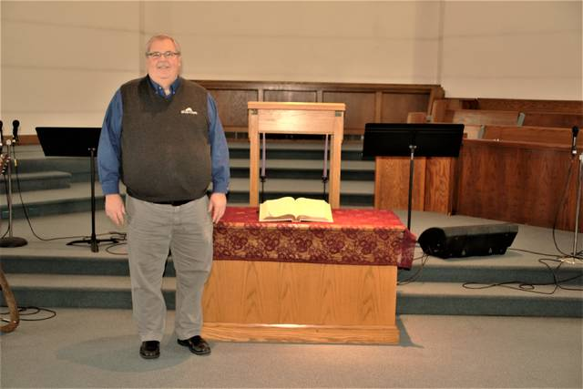 Rev. Joe Stafford, pastor of Wesley Chapel, stands at the front of the sanctuary in the church's new location at 240 S. Market St. in Galion. Stafford said the congregation has been meeting at the new location since August 2020. He said the church plans to make several improvements to the facility, which was the former home of First Presbyterian Church.