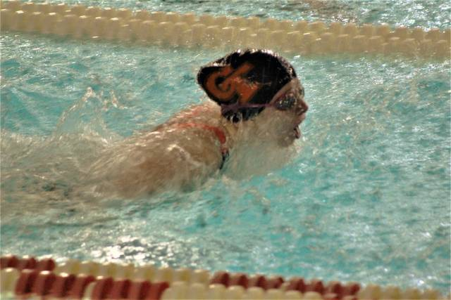 Galion's Kaisey Speck breaks through the water during the 100-yard butterfly race at the Division II sectional meet on Saturday, Feb. 13, 2021, at Malabar Intermediate School in Mansfield. Speck qualfied for the district championships in both the butterfly and breaststroke and is part of two relay teams that will compete at the district meet this Friday at Bowling Green State University.