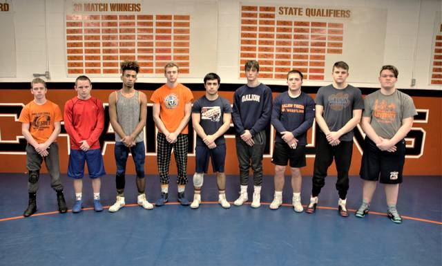 Galion High School's wrestling team sent five qualifiers and four alternates to the Division II district tournament at Norwalk High School. Pictured from left to right are sophomore Conner Ganshorn (106 pounds, alternate), sophomore Kiddren Clark (120 pounds, alternate), senior Ian Lehman (132 pounds, alternate), senior Devin McCarthy (138 pounds, qualifier), junior Sam Wegesin (145 pounds, alternate), freshman Landon Campbell (152 pounds, qualifier), senior Max Fisher (182 pounds, qualifier), junior Mitchell Young (195 pounds, qualifier), and freshman Alex Griffith (285 pounds, qualifier).