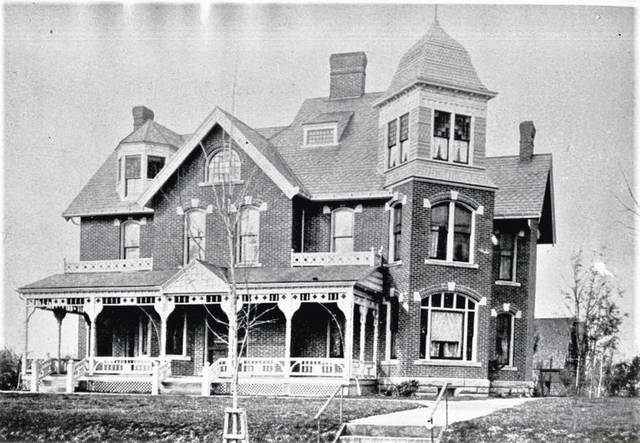 This photograph shows the Dr. Neville-Dr. Ridgway home on Harding Way West. The ground previously had been used as Galion's first cemetery.