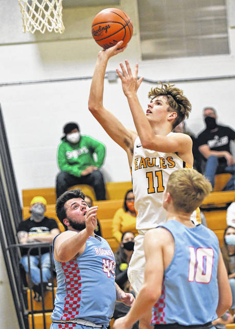 Colonel Crawford junior guard Carter Valentine (11) is the Northern 10 Athletic Conference player of the year for the 2020-2021 season. Eagles coach David Sheldon was voted coach of the year. Three other Eagles were also honored.