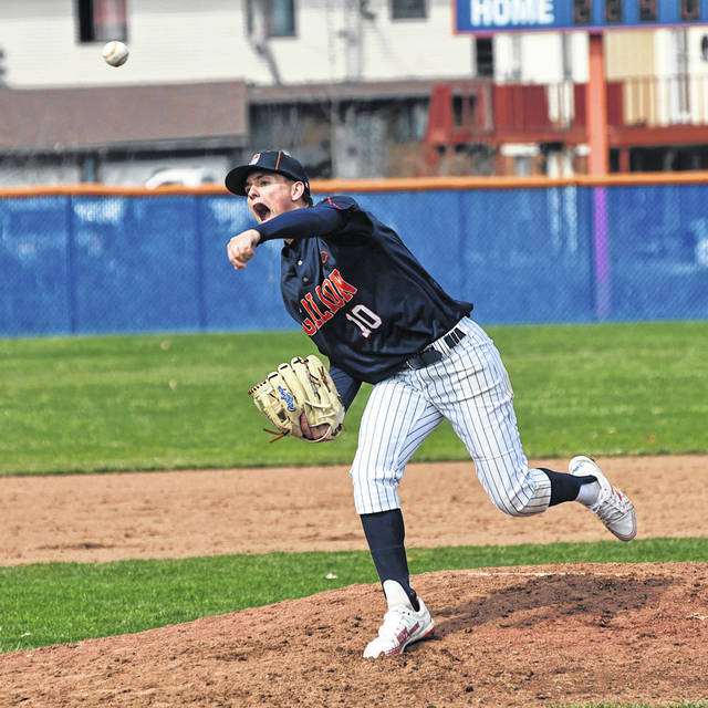 Galion pitcher Carter Keinath delivers a pitch during the Tigers season-opening doubleheader against Lexington on Saturday, March 27, 2021, at Heise Park. The Tigers swept the Minutemen 12-2 and 8-2.