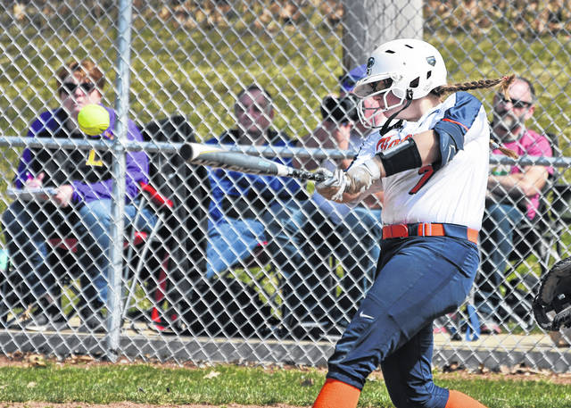 Galion's CC Campbell drives the ball during the Lady Tigers doubleheader against Lexington on Saturday, March 27, 2021, at Heise Park. The Lady Tigers dropped the season-opening twinbill to Lady Lex.