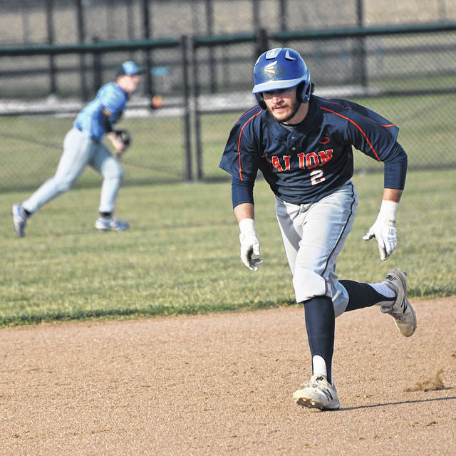 Galion's Spencer Keller motors down the base path during the Tigers' 18-9 victory over River Valley in the Mid Ohio Athletic Conference opener on Tuesday, March 30, 2021, at Caledonia. Galion scored 11 runs in the final two innings to erase a 9-7 deficit and pick up the win.