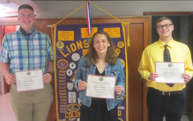 The Colonel Crawford Lions Club honored Colonel Crawford High School seniors Kevin Phillips, Allison Teglovic, and Blaine Bishop as the students of the month for December through February. Phillips was the December student of the month. Bishop was the January student of the month. Teglovic was the February student of the month. They each received a certificate and a check for $50.